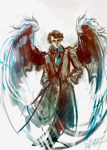 Wingfic: Sherlock with wings, illustration by Alice X. Zhang