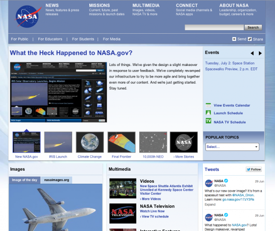 New NASA Web Site