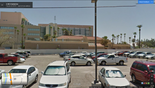 Google Street View, from site of the Southern Pacific Train Station
